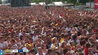 Mexico fans celebrating the Lozano goal at the Berlin Fan Park.