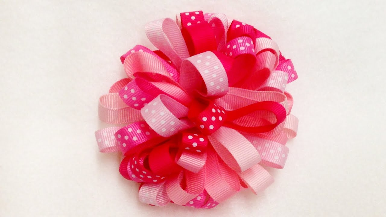 How To Make A Loopy Puff Ribbon Hair Bow - YouTube