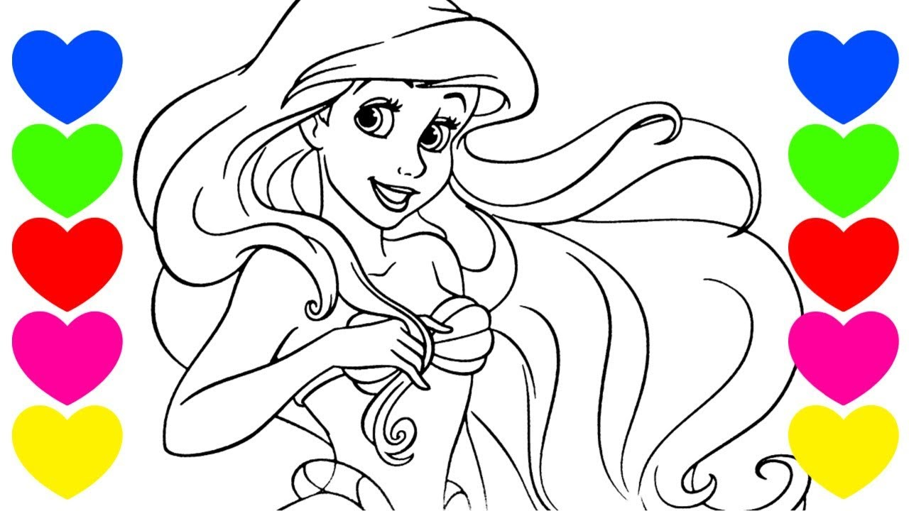 Pintar Desenho Da Pequena Sereia Ariel Colorir Princesa Disney