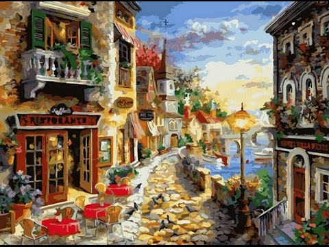 Diy Oil Painting By Numbers Paint Kits Town Frameless Canvas Home Wall Decor 40x50cm