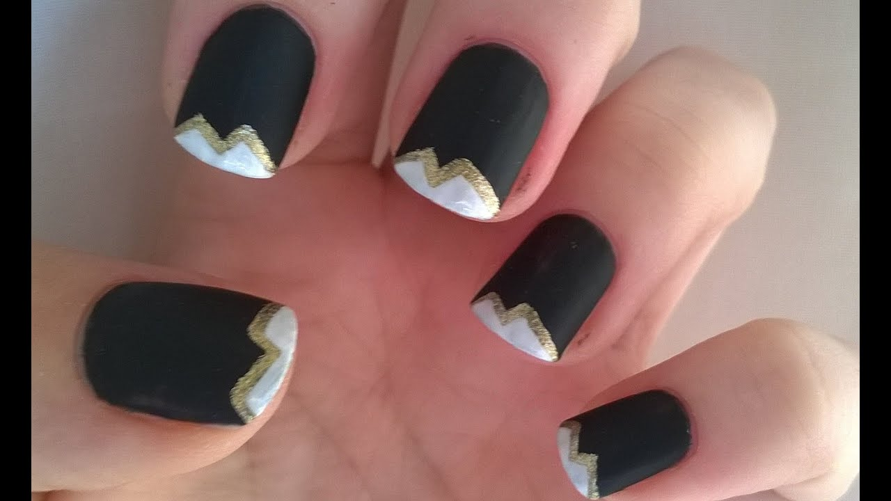 Black Matte Nail Polish Designs 2 Gold White Tips Easy Nails
