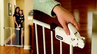 Regalo Easy Step Walk Thru Baby Gate With Sturdy Steel Construction And Secure Pressure Mounts