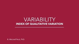 Social Statistics - Variability: Index of Qualitative Variation