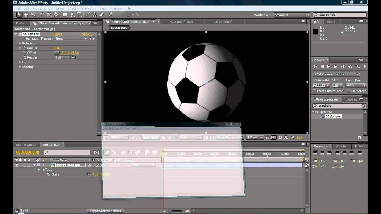 How to make a 3d sphere in after effects youtube for Habitacion 3d after effects