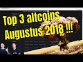 Top 3 altcoins van de maand Augustus!!!   Crytpo altcoins