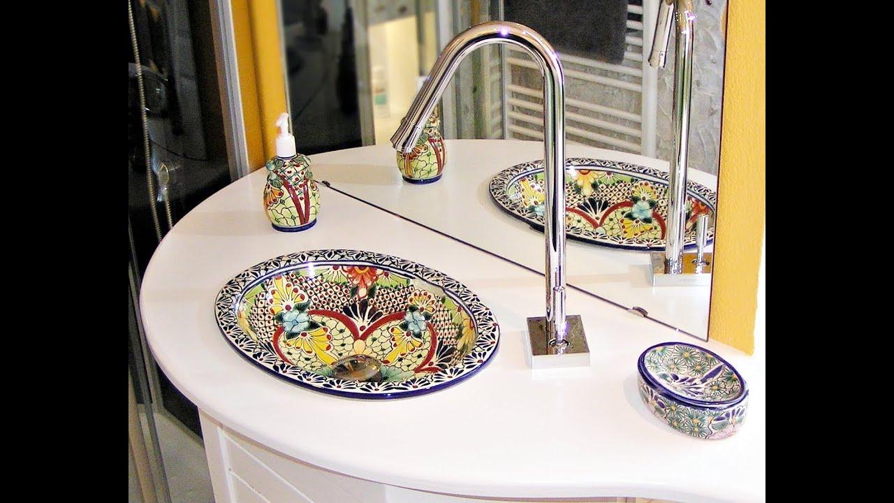 mexambiente mexikanische waschbecken handbemalt aus keramik youtube. Black Bedroom Furniture Sets. Home Design Ideas