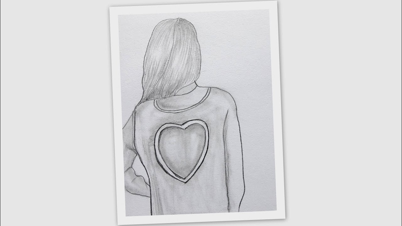 How To Draw A Cute Girl Backside Bearing Heart Sign T Shirt Girl Drawing Youtube