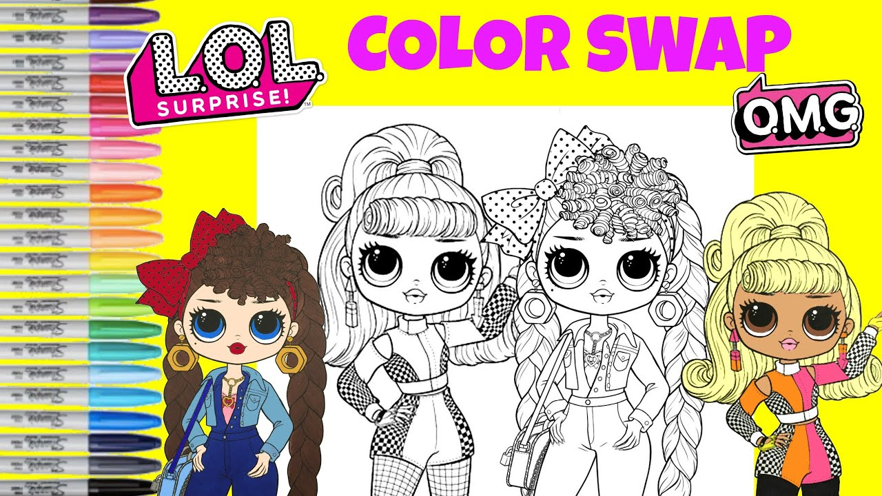 lol surprise omg dolls coloring book page color mix up