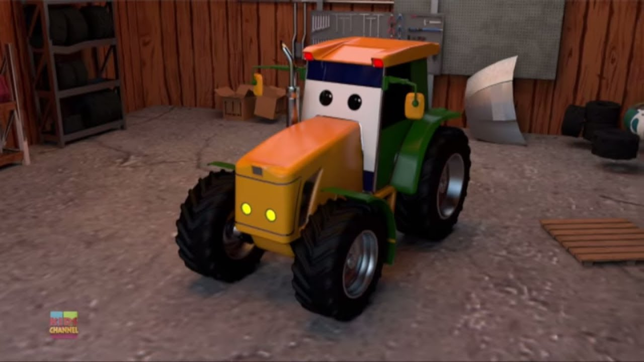 Garages For Tractors : Tractor car garage learning video for toddlers kids