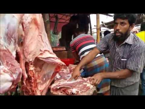 Meat Market  Beef Chopping In Rural Village Cow Meat Market