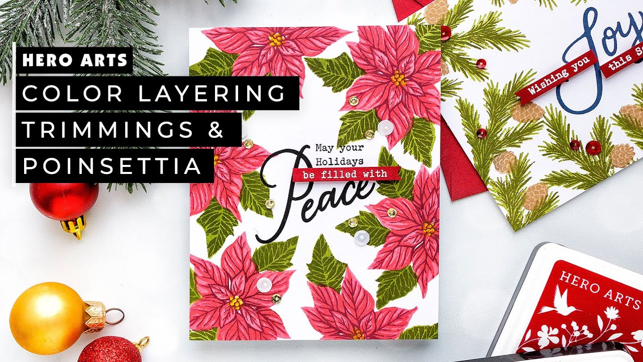 Easy Framed Christmas Card Designs With Hero Arts Color Layering