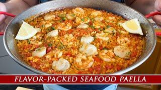 Easy To Make Smoky Seafood Paella With Shrimp & Scallops