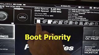 how to Boot the PC from a different device (Boot Priority, MSI B350 motherboard)