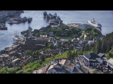 Bergen, Fløyen, people dancing - Flying Over Norway