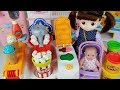 Baby doll Play Doh cooking and popcorn shop toys play - ToyMong TV 토이몽