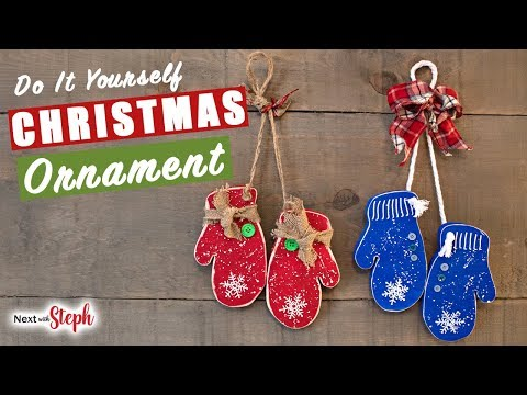DIY Wooden Christmas Mitten Ornaments