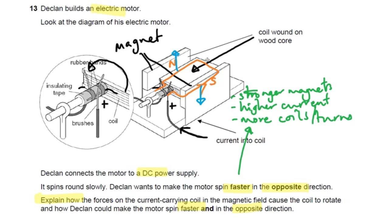 electric motor physics. dc motors ocr gateway p6 q13 gcse physics revision electric motor