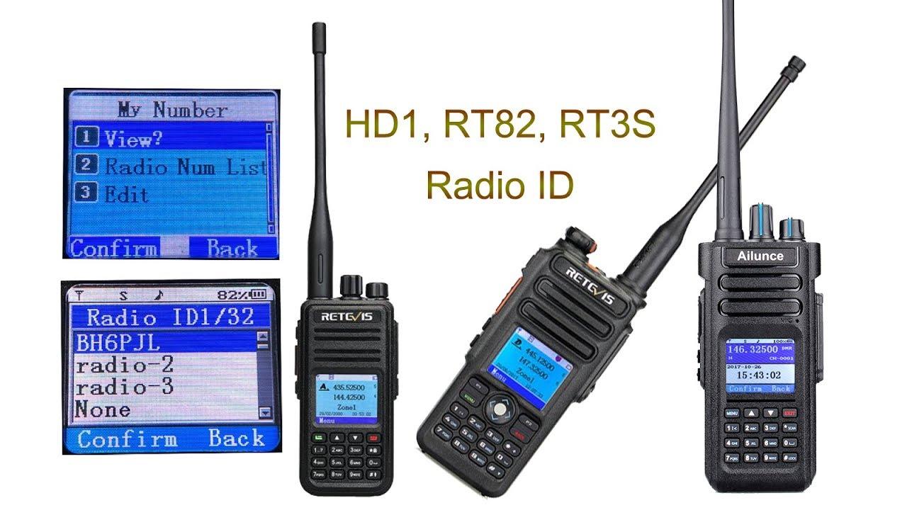 Ailunce HD1, Retevis RT82 ,RT3S Radio ID Setting and Using
