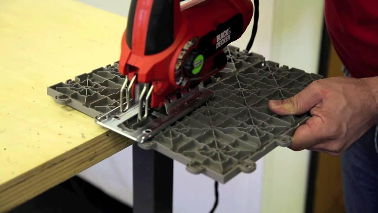 Cutting The Interlocking Floor Tiles Youtube