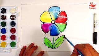 Цветок АКВАРЕЛЬ : урок рисования для детей