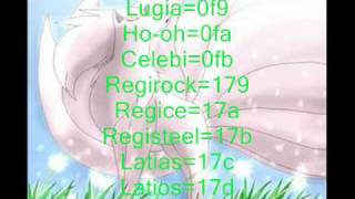 Pokemon Platinum all legendary ar codes