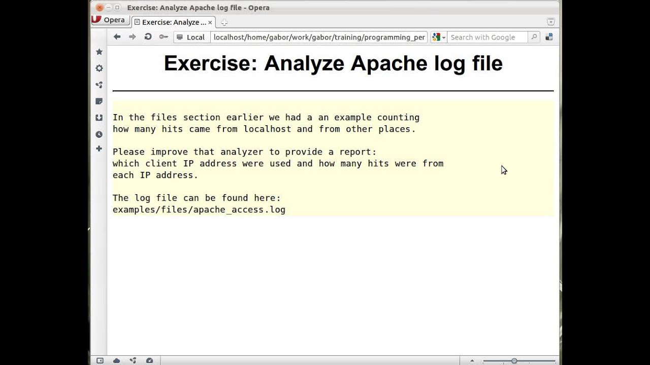 Exercise: Analyze Apache log file - count every host