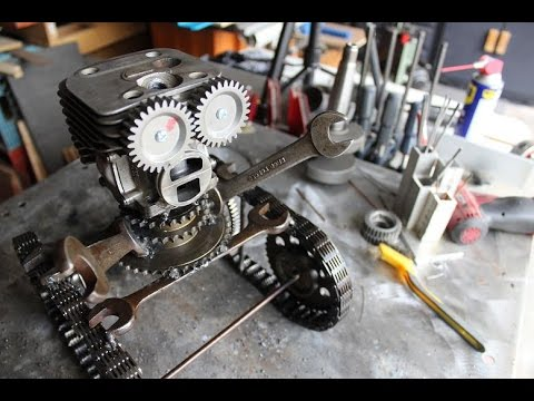 Scrap engine parts robot welding project youtube for Robot motors and parts
