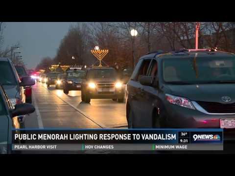 Public Menorah Lighting in Denver Response to Vandalism