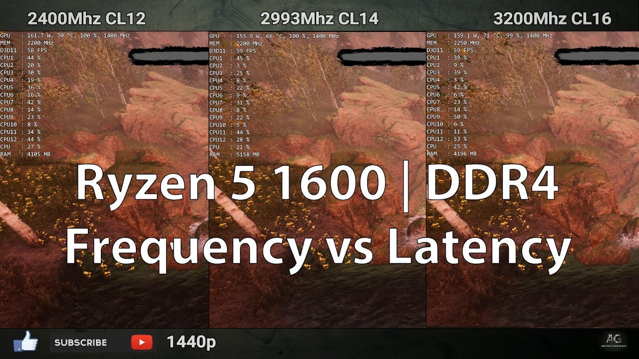 DDR4 Latency vs Frequency | 2400 CL12 vs 3000 CL14 vs 3200 Mhz CL16 | |  Ryzen 5 1600 | 1080p & 1440p
