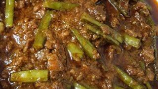 Tasty gwar fali and keema recipe    (ग्वारफली कीमा)