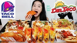THE MOST SATISFYING TACO EATING SHOW! Taco Bell & Del Taco Crunchy Tacos, Loaded Nachos Mukbang Asmr