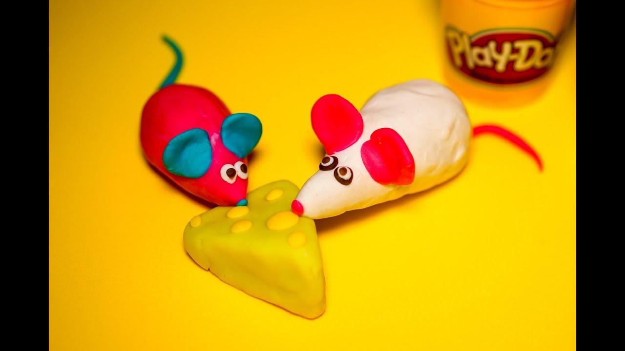 Đất sét Play Doh nặn 2 chú chuột màu hồng và màu trắng dễ thương, xinh xắn và dễ làm cho bé