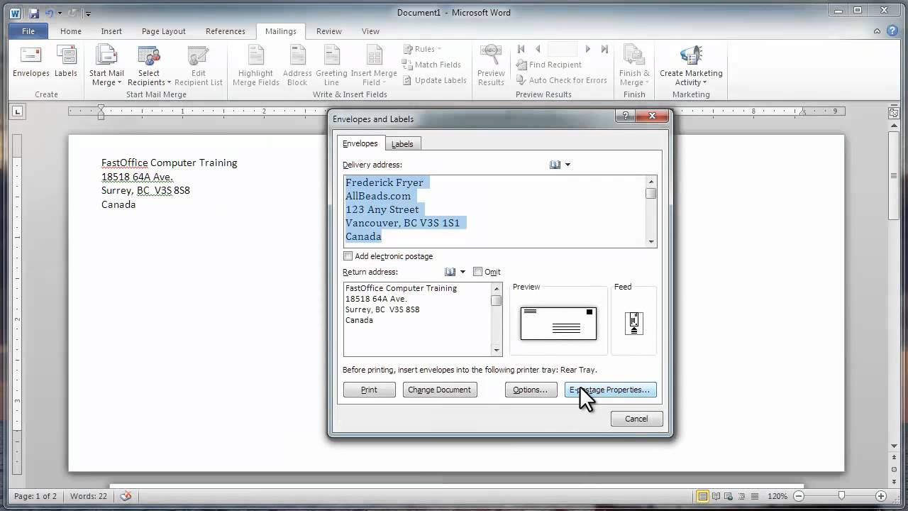 Video 1   Envelopes In MS Word 2010.mp4   YouTube  Format Labels In Word