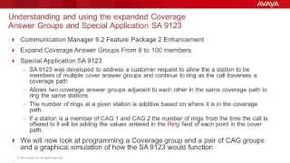 Understanding and using expanded Coverage Groups and Special Application 9123 in Avaya CM