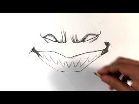 How to draw scary smile halloween drawings