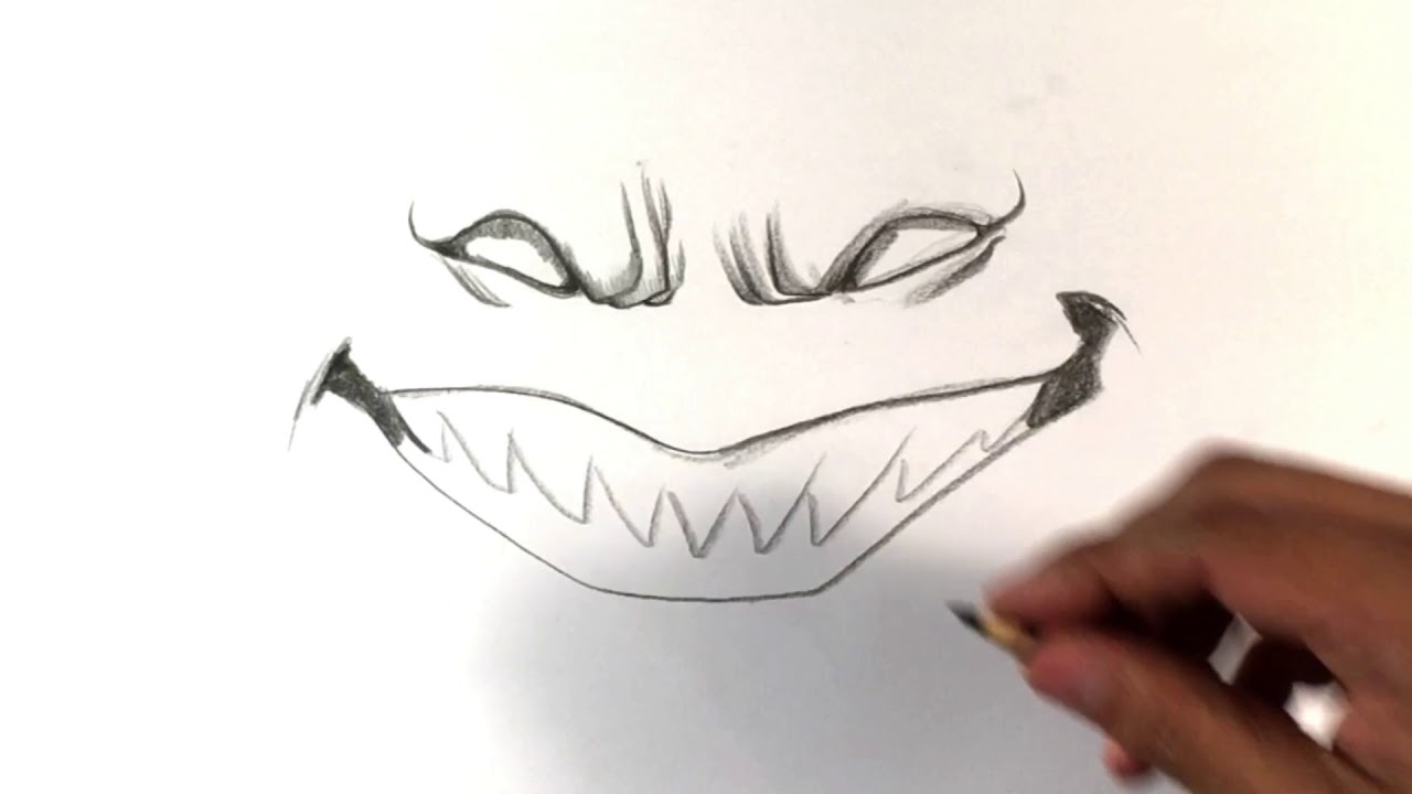 How To Draw Scary Smile Halloween Drawings Youtube