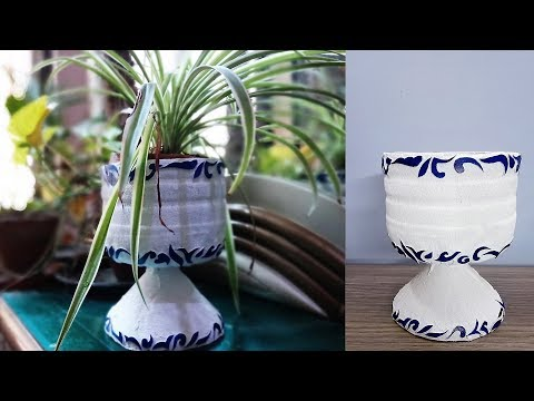 How to make a Pot with Plastic Bottle - DIY Plant Pot - Plastic Craft