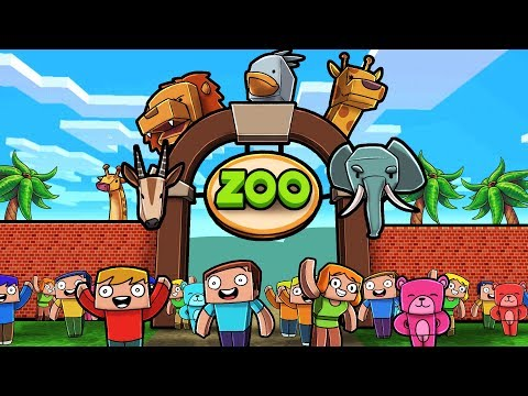 200 Random Minecraft Players Build a Zoo!
