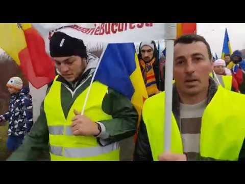 Cum au intrat în București patrioții care au venit pe jos la protest