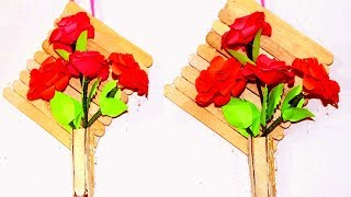 DIY : Wall Hanging with paper flower   Popsicle stick wall hanging   Wall Hanging Ideas