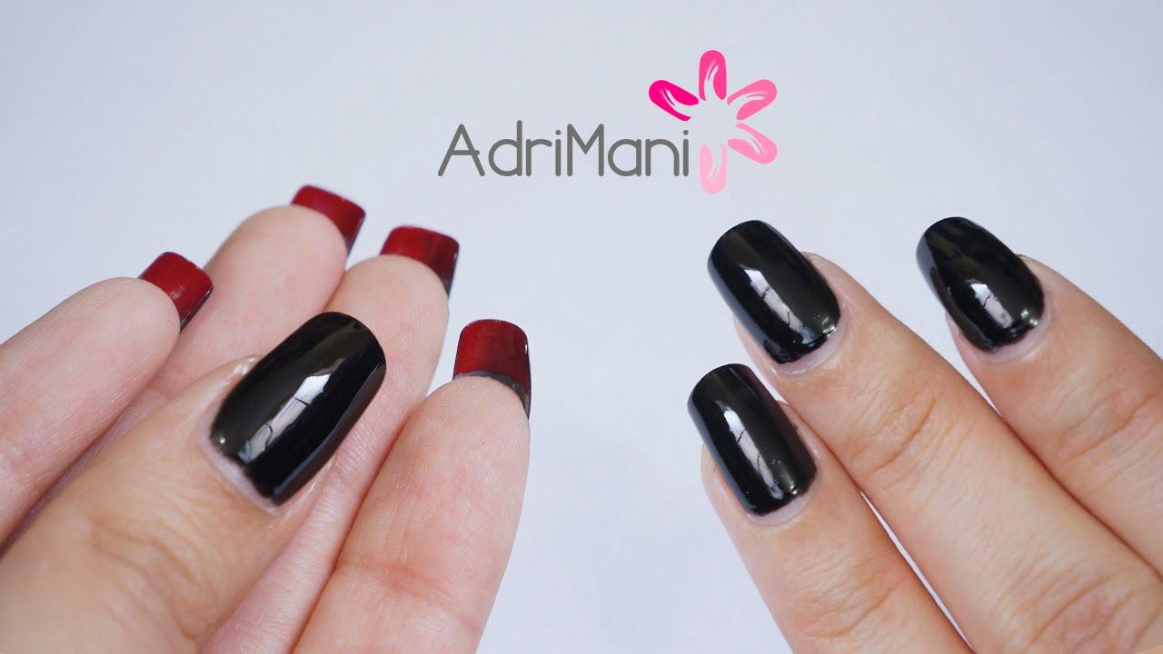 Uñas Negras Con Rojo Diseño Para Uñas Largas