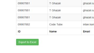 Export HTML Table To Excel File Using jQuery