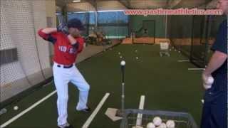 Dustin Pedroia Hitting Off Tee Drill Mechanics - Baseball Swing Instruction Boston Red Sox