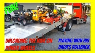 Part 2! Kruz Playing With His Dada's Rollback! Unloading His Ride On Power Wheels!