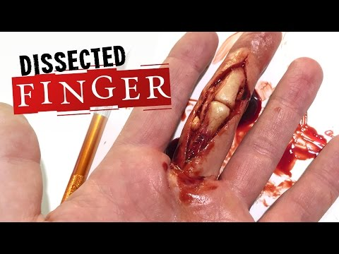Dissected finger SFX makeup tutorial