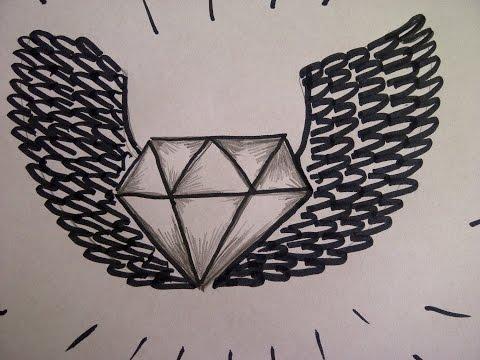 Zeichnen lernen für Anfänger. Wie zeichnet man einen Diamanten mit Flügel