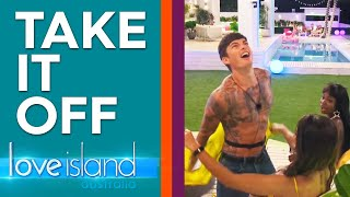 Boys embrace sexy role play in strip tease game | Love Island Australia 2019