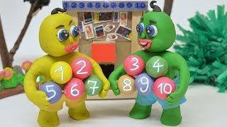 SUPERHEROES BABIES EDUCATE COUNTING Clay Play Doh Cartoons Stop Motions For Kids