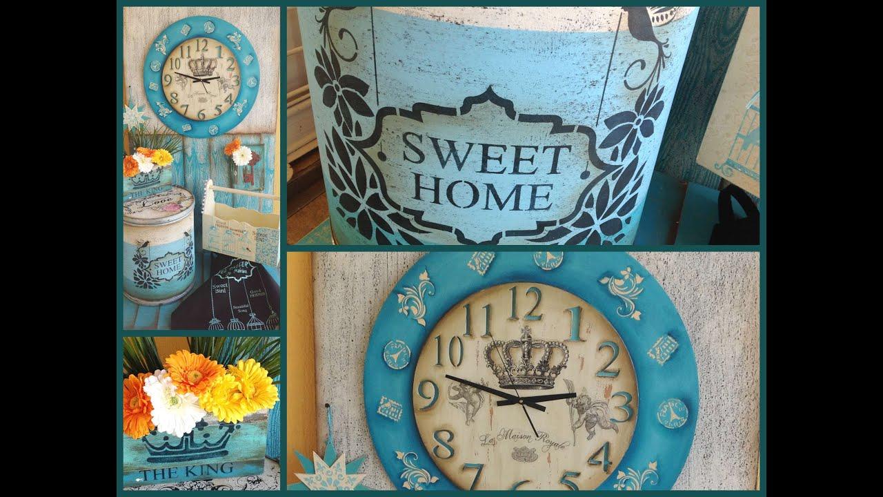 Stencil transferencia de fotocopias pintar madera - Relojes grandes de pared vintage ...