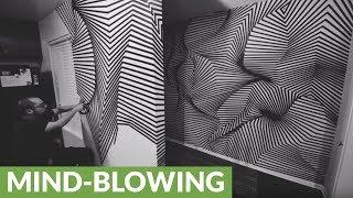 Tape art installation creates mind-blowing illusion